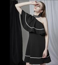 New 2019 Party dress Girl Vintage style Ruffle Dress Black Women Elegant High Quality Free Shipping цена