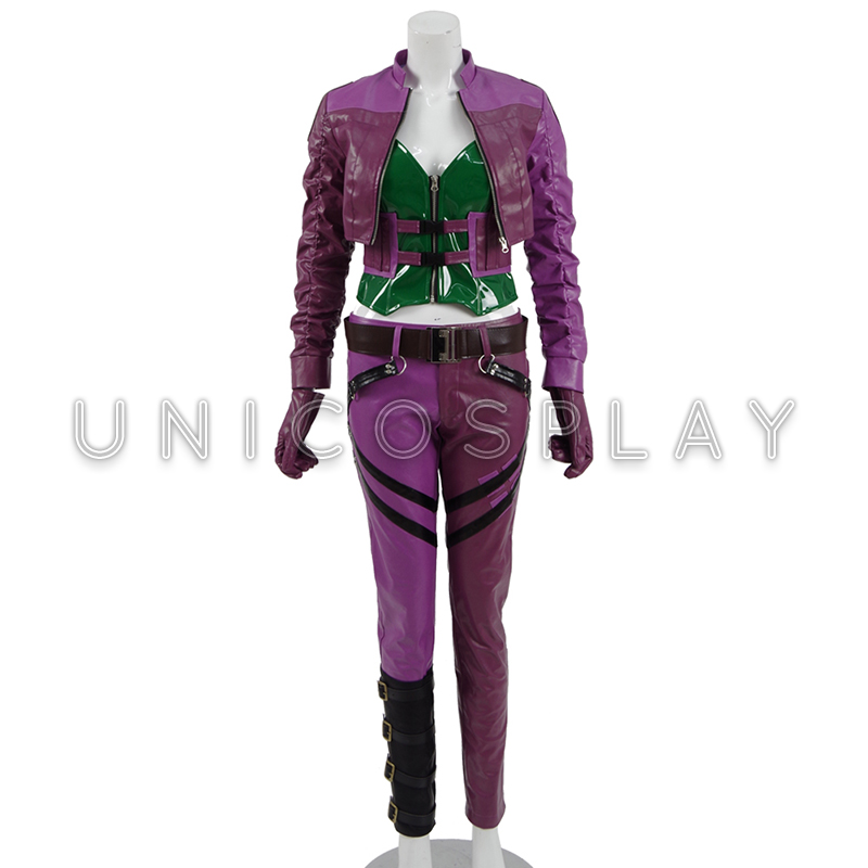 Injustice 2 Harley Quinn Cosplay Costume 2017 Gameplay Women Purple fight Suit PU leather Clown Fancy Dress Halloween Outfit