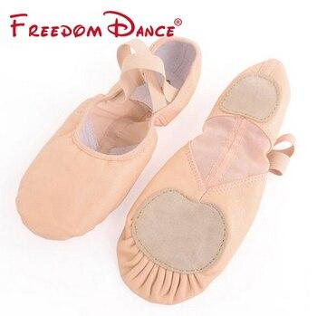 Zapatillas de Ballet profesionales D012002, suela dividida de cuero, zapatillas de Ballet plegables con malla elástica para niñas y mujeres, venta al por mayor