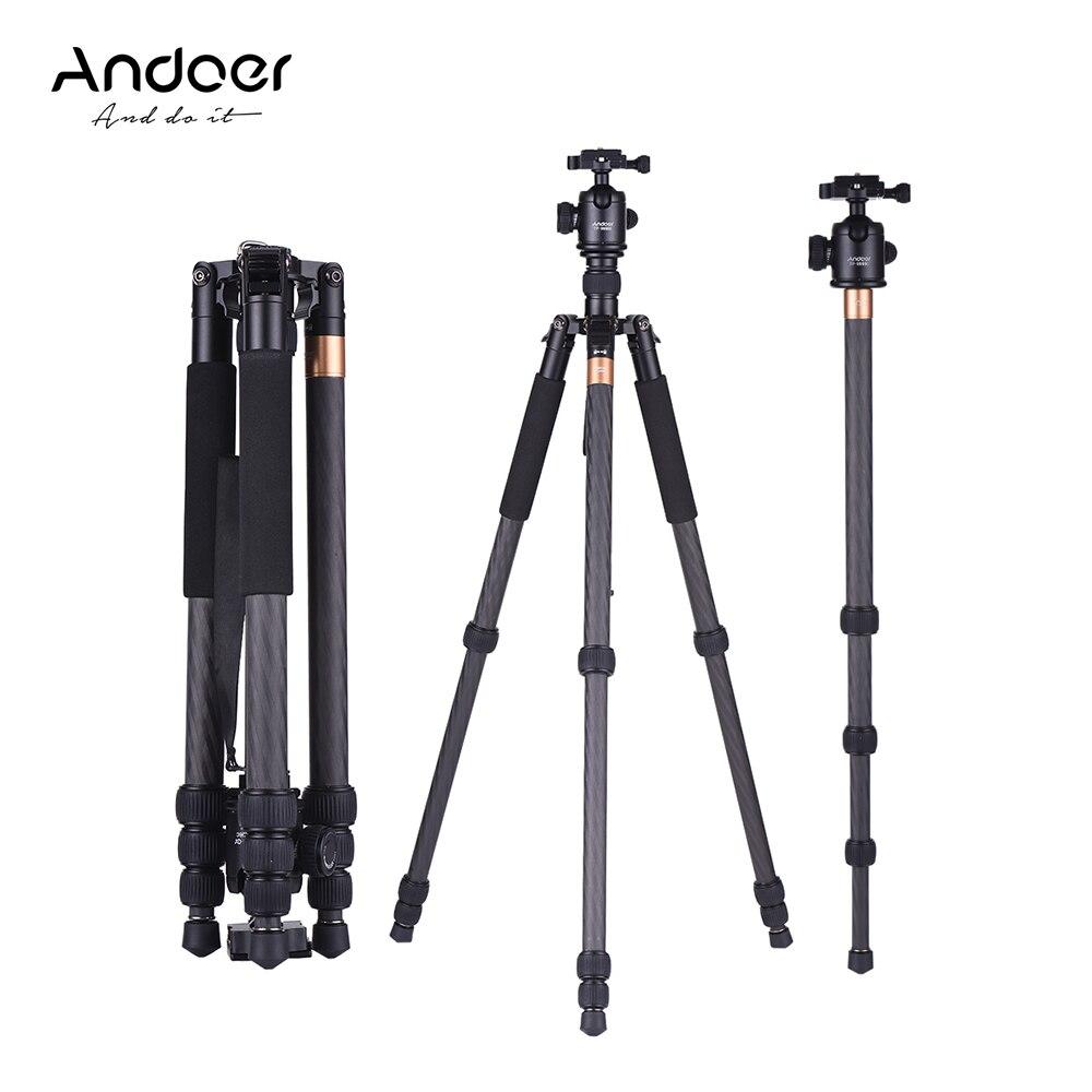 Andoer TP 999BC Tripod Professional Portable Carbon Fiber Tripod Monopod w Panoramic Ball Head for Canon