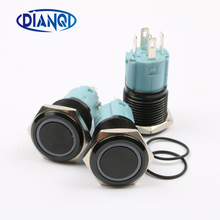 16mm metal push button Waterproof aluminum oxide black switch with light momentary Latching locking Car Auto Lock Reset 16HX.BK