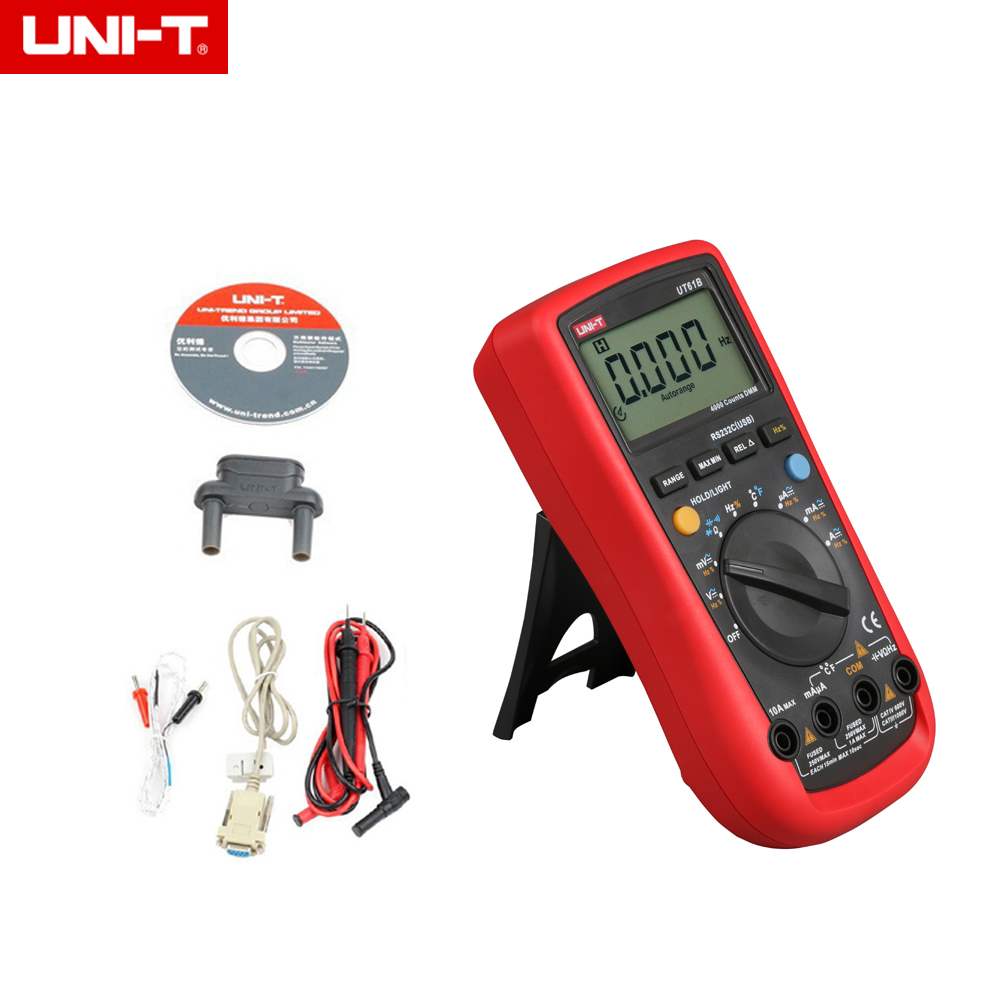 UNI T UT 61B UT61B Modern Digital Multimeters UT61B 4000 counts DMM AC DC V/A/HZ Meter Backlight-in Multimeters from Tools    1