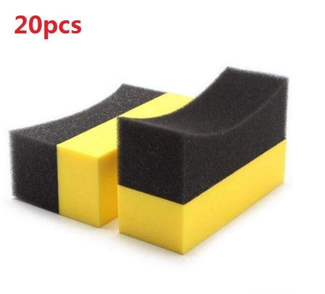 20pcs/lot Vacuum compressed sponge U-Shape Tire Wax Polishing Compound Sponge ARC Edge Sponge Tyre Brush