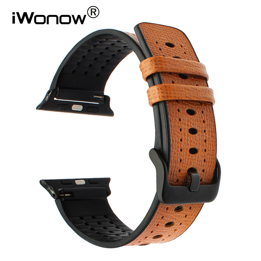 Genuine Calf Leather + TPU Rubber Watchband for iWatch Apple Watch 38mm 42mm Series 1 2 3 Wrist Band Steel Buckle Strap Bracelet istrap black brown red france genuine calf leather single tour bracelet watch strap for iwatch apple watch band 38mm 42mm