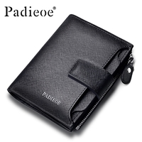 Padieoe new fashion mens wallet leather genuine luxury brand small wallet zipper short men's leather wallet with coin pocket