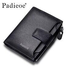 Padieoe neue mode-männer geldbörse leder echten luxusmarke kleine brieftasche reißverschluss kurze leder herren geldbörse mit münzfach