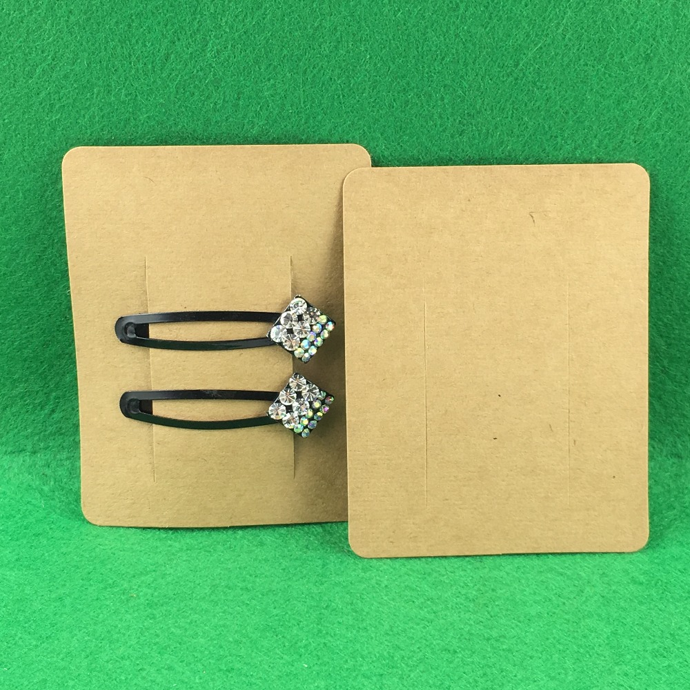100PCS Hair Clip Card White Paper Jewelry Display Cards Hair Accessory Cards Blank Hairpin Packaging Card Accept Custom Logo