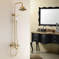 Bán buôn và bán lẻ sang trọng PVD đồng& vòi bồn tắm bộ bồn tắm mixer gốm vòi sen tay tiết kiệm lượng mưa vòi sen đầu