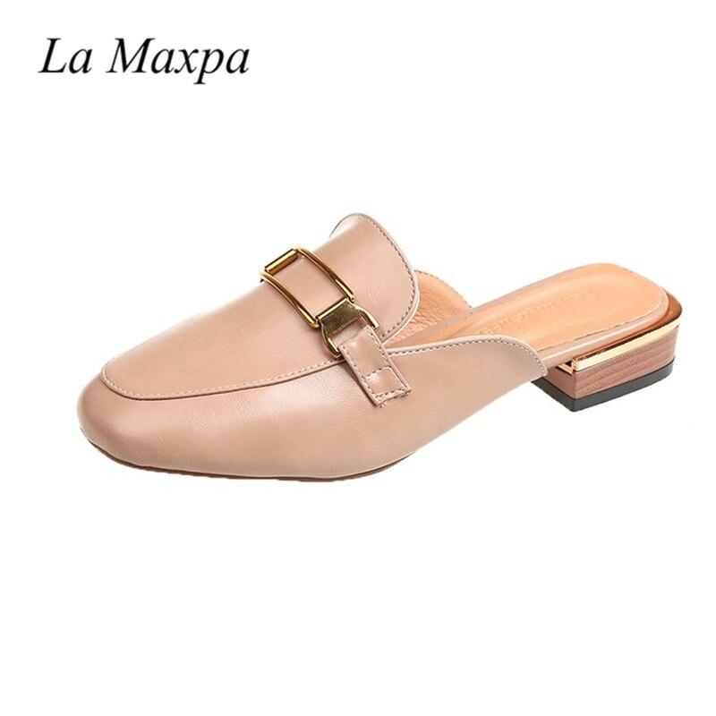 La MaxPa повседневная обувь 2018 Для женщин кожа Шлёпанцы острым носком Для женщин тапочки 3 см квадратный каблук женские туфли без задника высок...