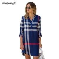 Casual loose comforable váy mùa thu và mùa mùa đông phong cách nóng ở Châu Âu và Châu Âu kiểm tra đầy màu sắc dài tay áo loose dress kích thước S-