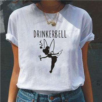 Drinkerbell Cartoon Graphic Print T Shirt Women Fashion O-neck Plus Size White Black Tee Shirt Femme Hipster Funny Women T-shirt