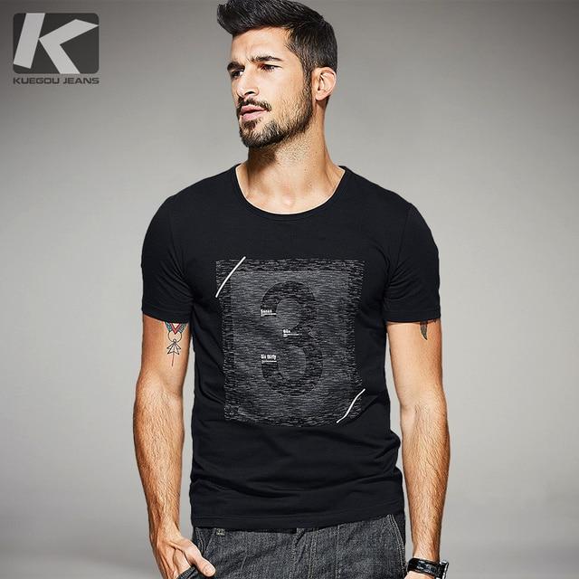 KUEGOU 2017 Summer Mens Fashion T Shirts Letter Print Black Brand ...