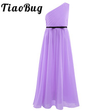 Tiaobug Flower Girls Maxi dresses for party and wedding Kids evening gowns Vestido longo Chiffon One shoulder Pleated Dresses
