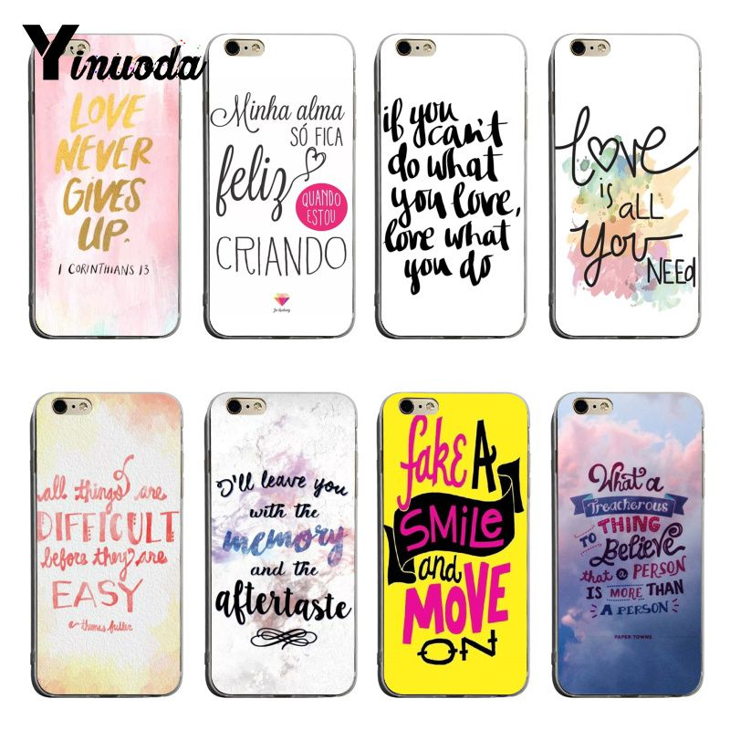 Yinuoda Word Pattern Quotes 2018 Colored Drawing soft tpu phone Case For iPhone 6plus 6s 7plus 8plus X XS XR Coque Shell