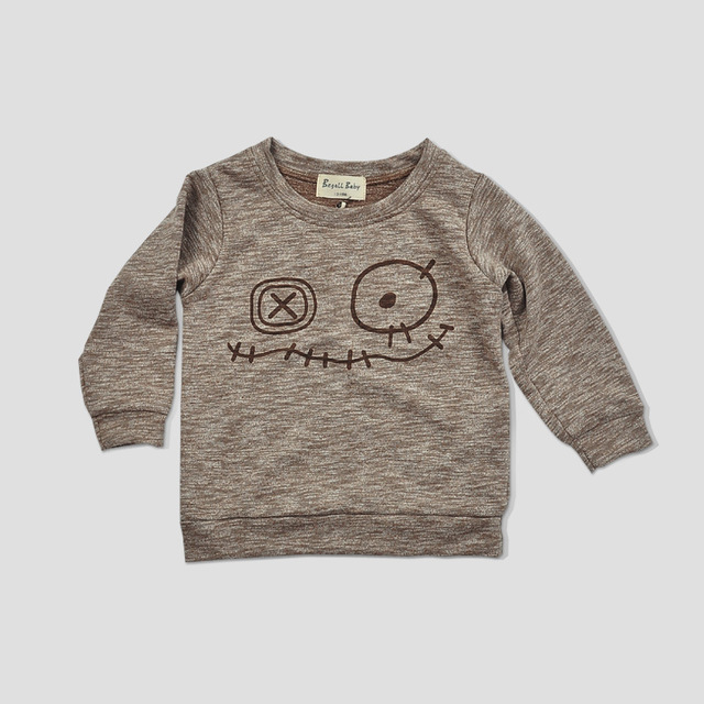 Autumn 2016 New children 100% cotton sweater and expression of children long sleeved T-shirt sweater Kids Fashion Top Clothes