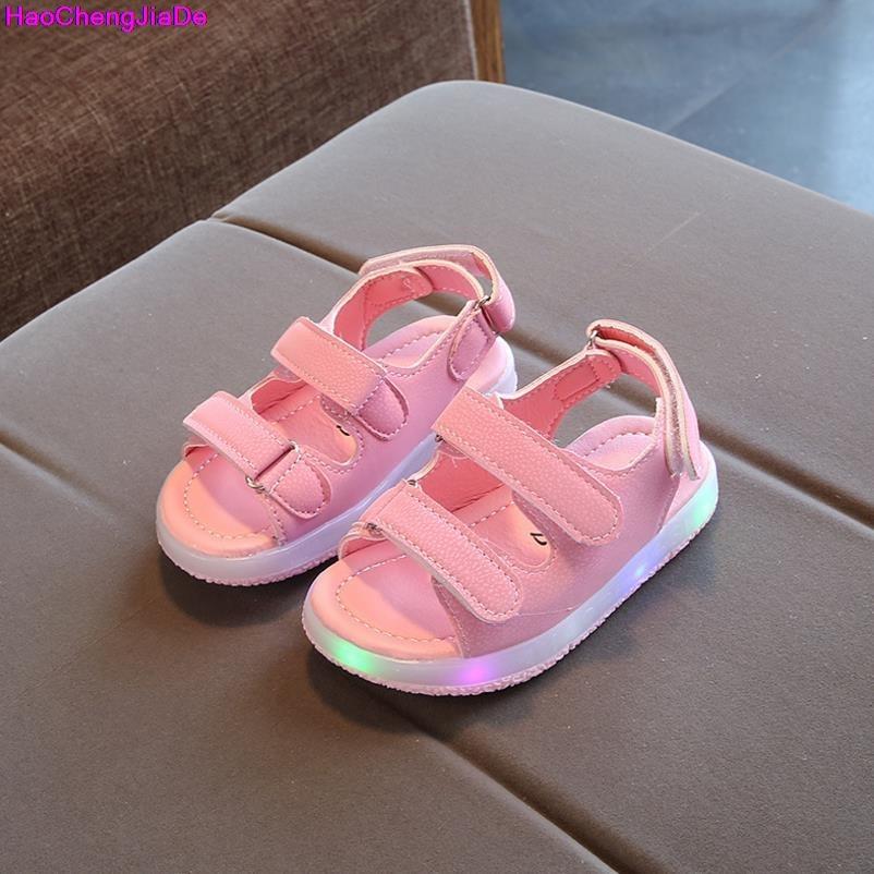 HaoChengJiaDe 2018 New Brand Fashion Soft Glowing Kids Sandals Shoes Boys Girls Flat Baby Led Luminous Lighting Sneakers Sandals