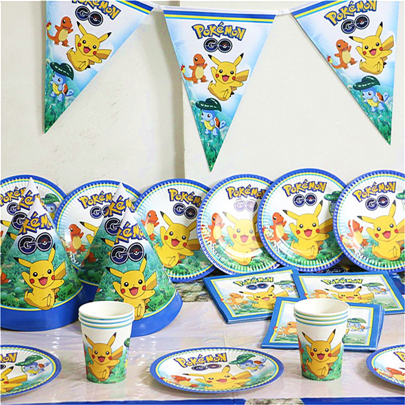 91pcs/set Pokemon Go Theme Birthday Decoration 10Person Use Firend Big Party Set Tableware Set Paper Dish Cup Straw Banners Bags91pcs/set Pokemon Go Theme Birthday Decoration 10Person Use Firend Big Party Set Tableware Set Paper Dish Cup Straw Banners Bags