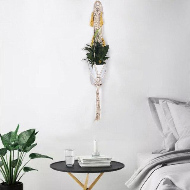 Presente de natal Corda Macrame Planta Hanger Jardim Decoração Da Árvore de Natal Ornamento Da Flor Titular Vaso de Flores Cesta de Suspensão