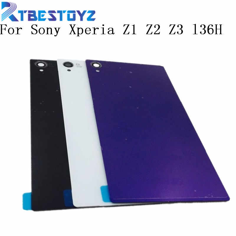 RTBESTOYZ l36H جديد الباب الخلفي البطارية الخلفي الإسكان الزجاج استبدال الغطاء الحال بالنسبة لسوني اريكسون Z1 Z2 Z3 مع شعار