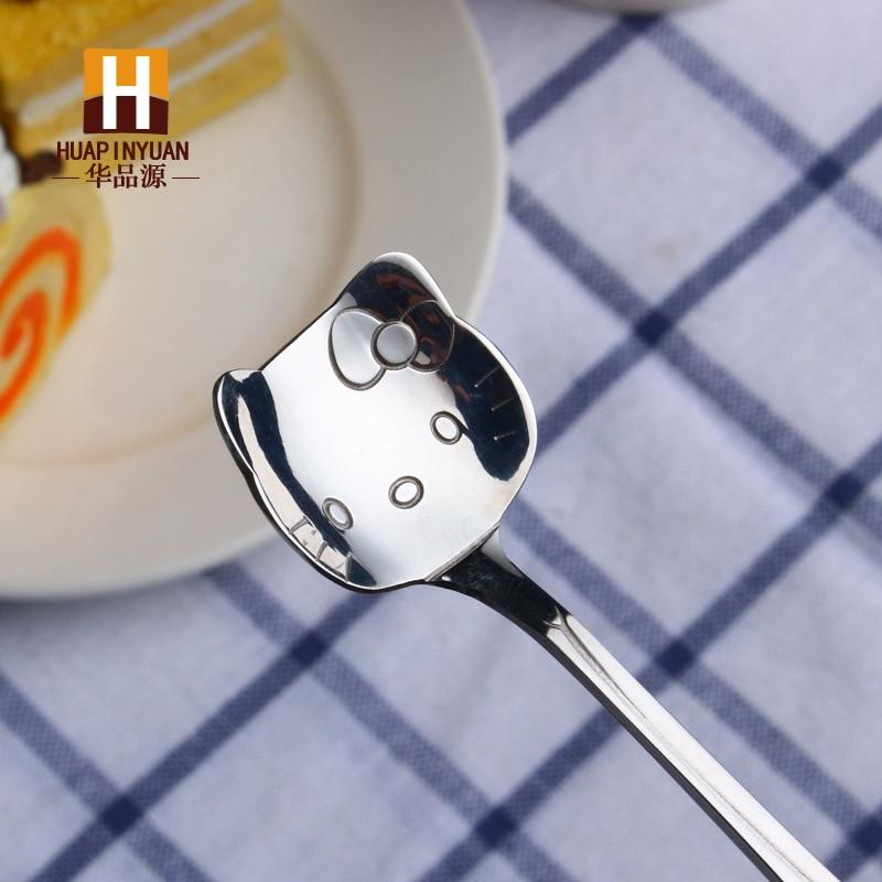 304 кофейная ложка из нержавеющей стали, помешивающая чайная ложка, милая мультяшная кошка, hello kitty, совок, Дораэмон, часы, время, Rilakkuma, ложка с медведем - Цвет: silver kitty cat