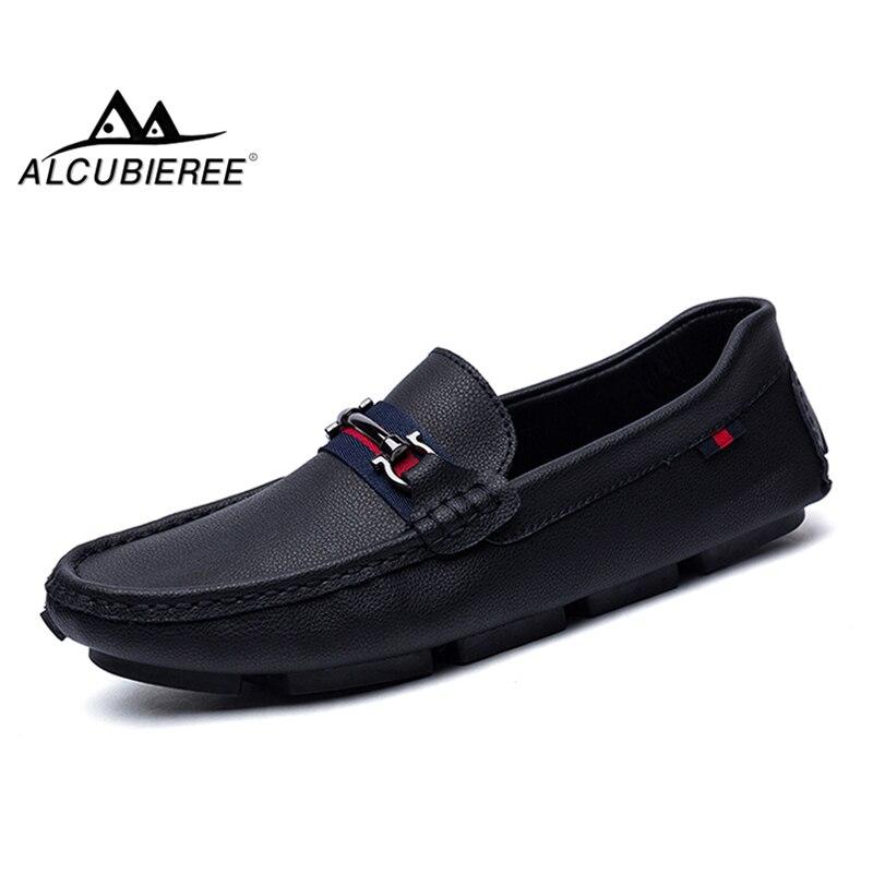 ALCUBIEREE marca de alta calidad mocasines para hombre mocasines de cuero genuino hombres deslizamiento en la conducción zapatos Gommino mocasín zapatos del barco