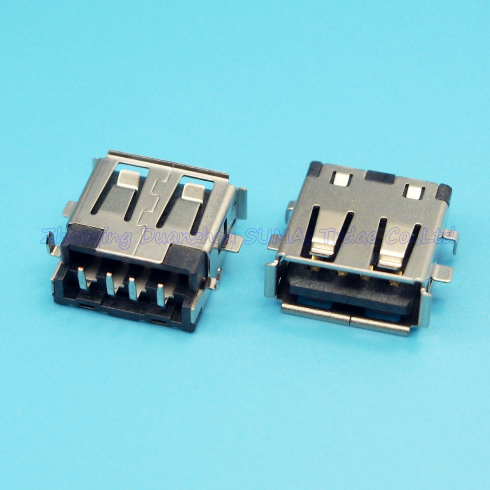 Free shipping 25pcs/lot Original new USB Jack USB Connector 2.0 USB Female Socket for Laptop Lenovo Hasee HP DELL ACER Notebook