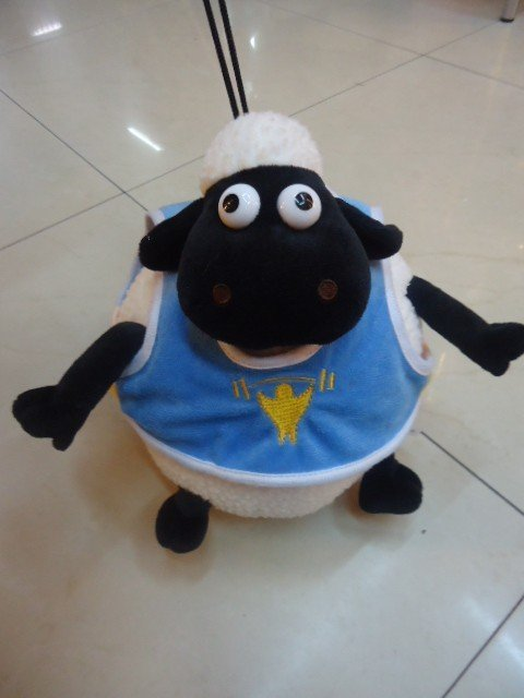 Wholesale - Hot -3piece/Lot Plush Toys Shaun the sheep with Clothes +Sucker 28cm