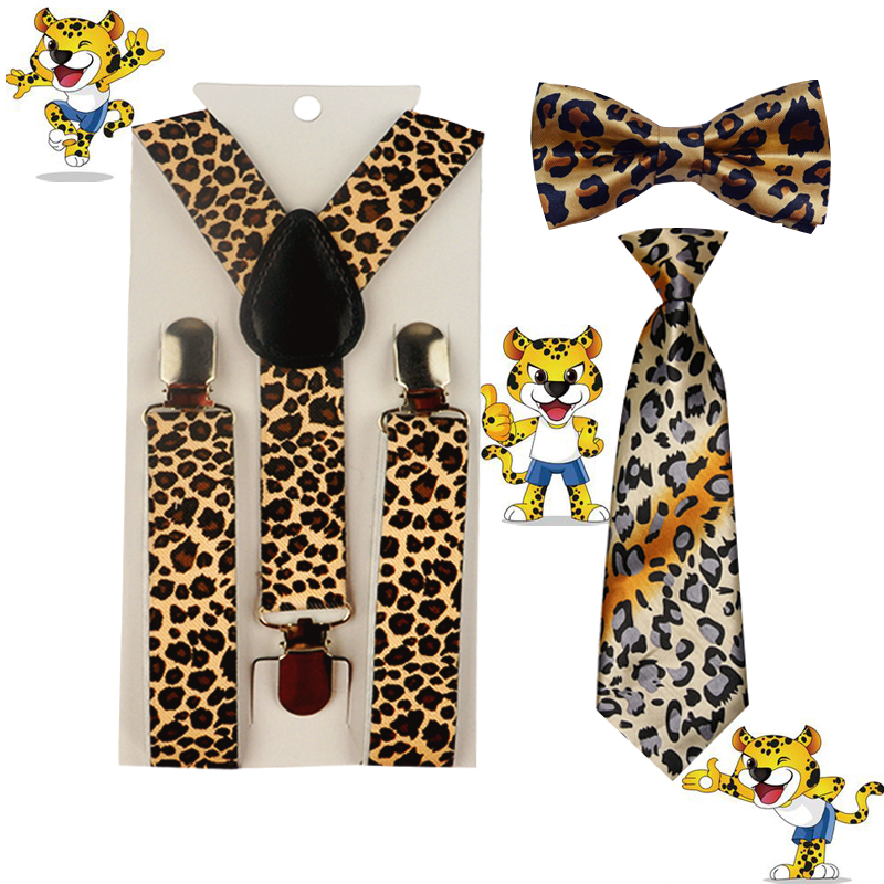 Hot Baby&kids Boy's Leopard print Suspender Bowties Bow Ties Adjustable Y-Back Braces Party Wedding 1-8 Years HHtr0004a03