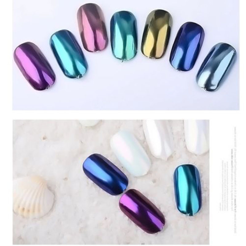 12 Colors Nail Glitter Pigment Powder Gold Blue Purple Dust Manicure Nail Art Glitter Chrome Powder