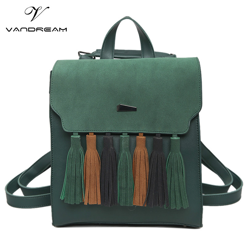 Fashion Tassel Square Hit Color Girls Shoulder Backpack Scrub PU Leather Hand bags Women Backpack Casual