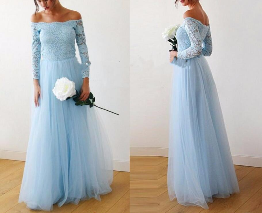 2019 Light Sky Blue Off Shoulder Long Bridesmaid Dresses