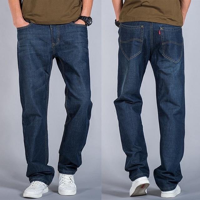 e355e207c96 Spring Autumn Mens Loose Jeans Men Straight Denim Trousers Plus Size Long Jeans  Pants Black Dark blue Big Size 40 42 44 46