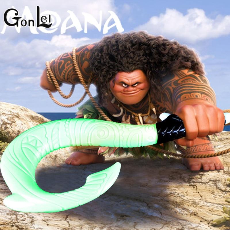GonLeI Moana Waialiki Maui Heihei ABS weapons light sound saber fishing hook Action Figures Moana Adventure ABS Toy lightsaber