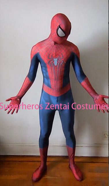 The Amazing Spiderman Costumes TASM2 Zentai Spider-man Cosplay Costume 3D Print Lycra Full Body Spidey Suit Halloween
