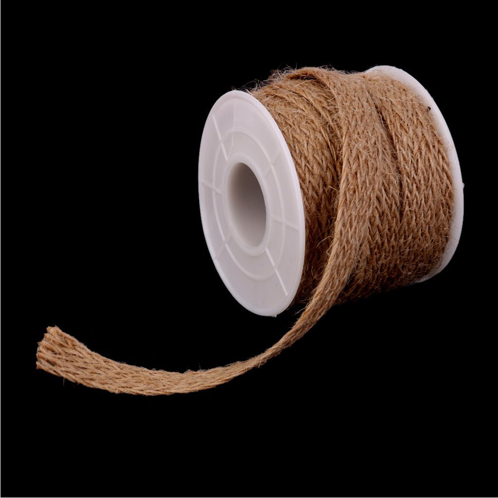 5M Jute Burlap Natural Hessian Ribbon With Lace Trim Edge Wedding Rustic Vintage