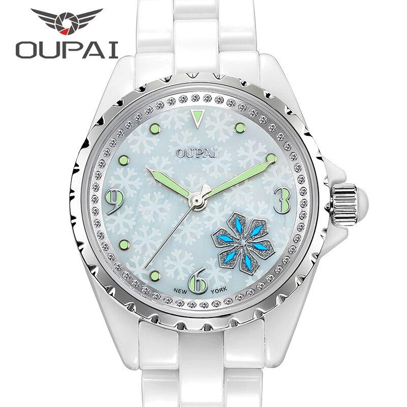 Signore OUPAI Lucky Snow Love Crystal Strap Austrian Drilling Women Watches Ceramics Quartz Watches Woman Dress Clock ковер love of snow