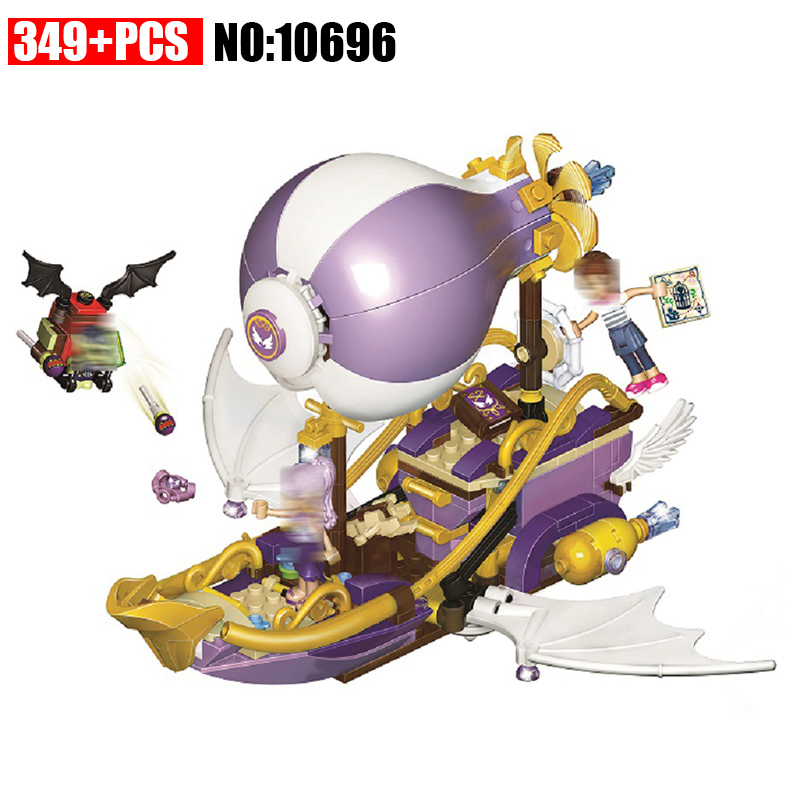 <font><b>10696</b></font> Elves Aira's Airship & the Amulet Chase Building Blocks kids Bricks toys Christmas Gift Compatible With 41184 for Girls image