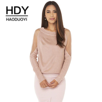 HDY Haoduoyi Brand 2017 New In Mesh Patchwork Backless Sheer Women Sweaters Solid Color Knitted Female Tops Sexy Lady Pullovers