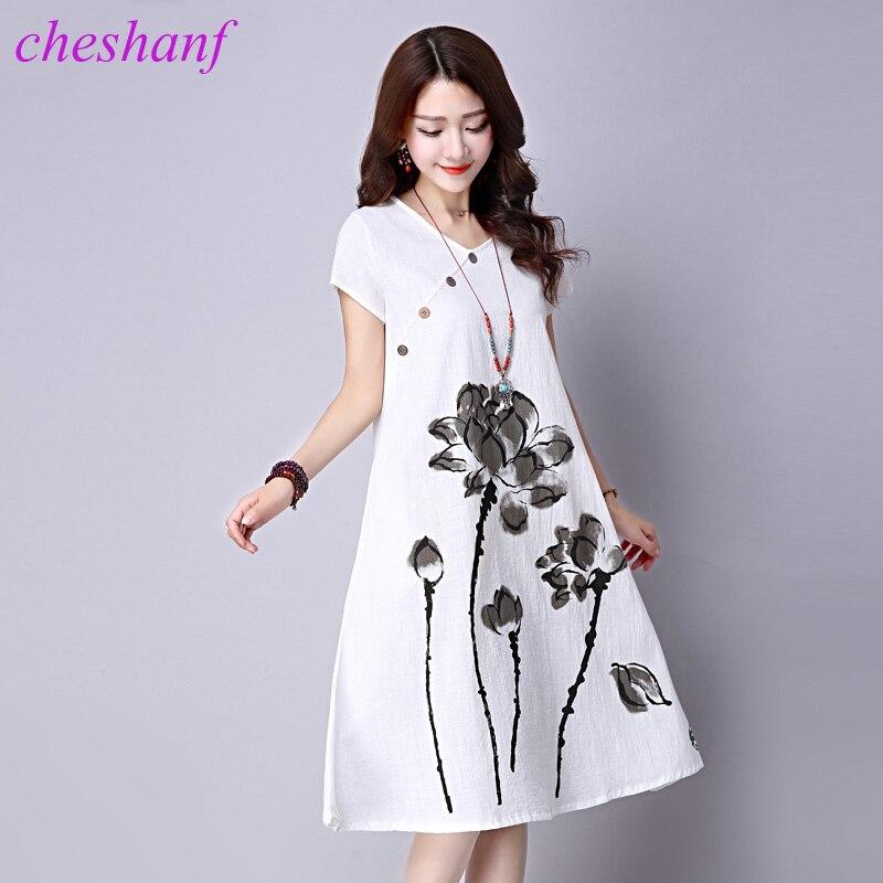 Loose Cozy Women Summer Casual Dress New 2018 Fashion Lotus Pattern Print Short Sleeve Cotton Linen Comfortable Long Dresses #15