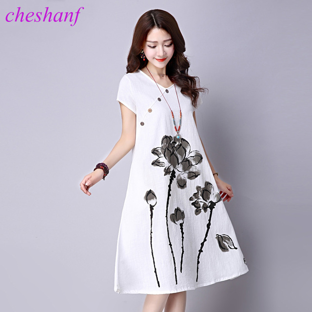 Loose Cozy Women Summer Casual Dress New 2018 Fashion Lotus Pattern Print Short Sleeve Cotton Linen Comfortable Long Dresses #15