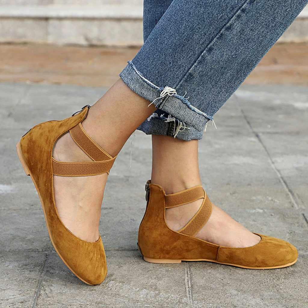 Vrouwen Ballet Flats Cross-gebonden Slip op Platte Schoenen Faux Suede Vrouw Comfortabele Schoenen Zwart Flats Dames schoen zapatos mujer # XTN