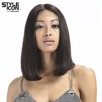 Styleicon Lace Front Human Hair Wigs Remy Brazilian Straight Hair Short Bob Wigs For Black Women Average Size Cap 10 12 Inch Wig