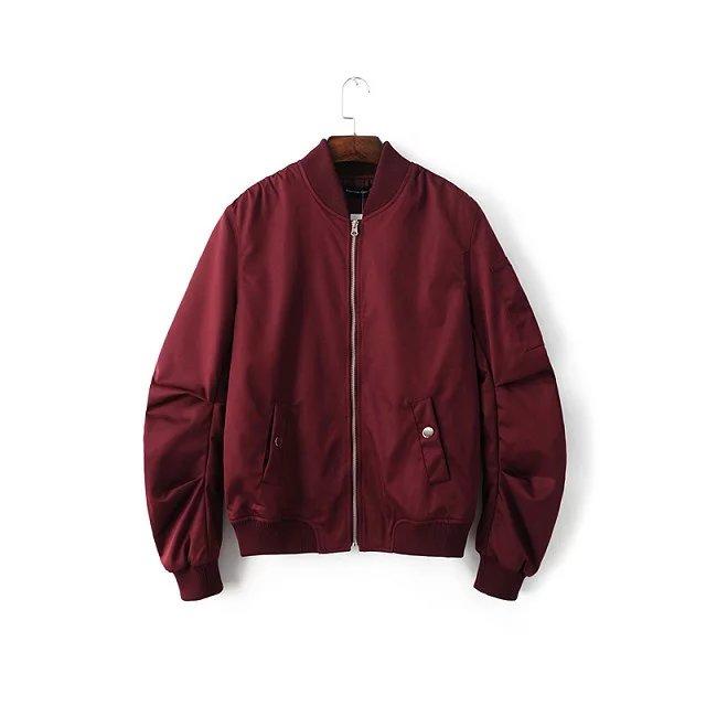 2018 Spring Autumn Mens Solid Flight Wine Red Bomber Jacket Men s Rib Sleeve Zipper Short
