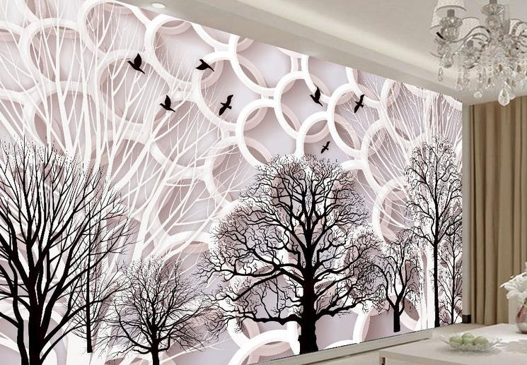Custom 3d Wallpaper Walls Branches Round Mural Wallpaper non-woven paper 3d TV Background Large Mural Wall paper Decoration non woven bubble butterfly wallpaper design modern pastoral flock 3d circle wall paper for living room background walls 10m roll