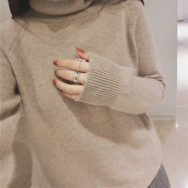 Women Pullovers 100% Cashmere and Wool Knitting Sweaters Woman 2018 Korean style Turtleneck Cashmere Knitwear Standard Clothes