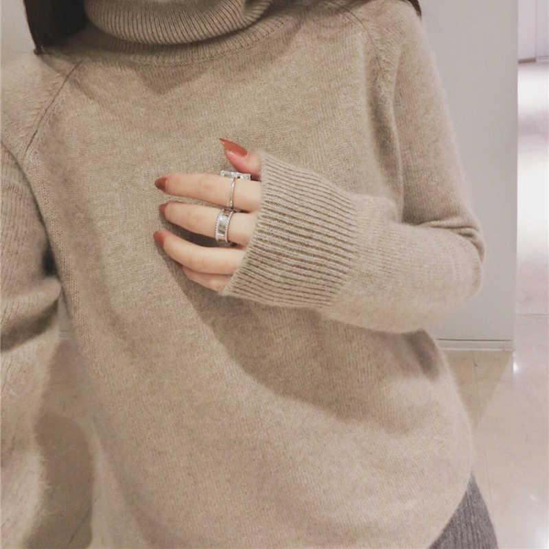 Женские пуловеры, 100% кашемир и шерсть, вязаные свитера для женщин, 2018, корейский стиль, водолазка, кашемировый трикотаж, стандартная одежда