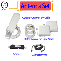 ZQTMAX antenna wifi For cell phone signal booster UMTS LTE 3G Cellular Signal Amplifier 2G 4G network booster 2 indoor + cable