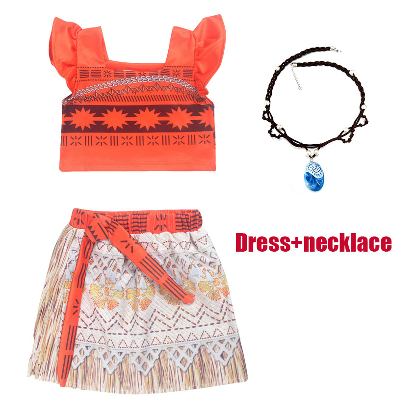 Movie Moana Princess Dress Cosplay Clothes for kids skirt+top + necklace Children Vaiana Halloween Costume for Girls Party Dress fairy tale dress kids halloween princess cosplay dress