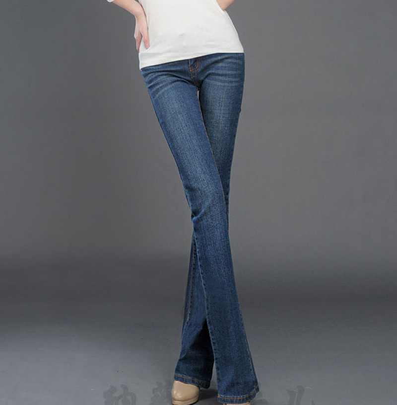 Micro flared trousers stretch jeans female hip thin large size wide leg denim bell commuter pants denim pants women A0133 new jeans female large size loose nine pants pants stripes wide leg pants was thin jeans