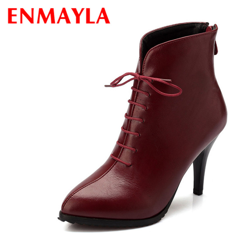 ENMAYLA Thin Heels Lace-up Ankle Boots for Women High Heels Pointed Toe Shoes Woman Autumn Black Blue Short Boots free shipping pair accuphase audio speaker cable with banana plugs connector